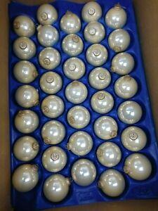 35 Christmas Tree Decor Balls / Glass Ornaments IN Cream White Diameter 2 3/8in