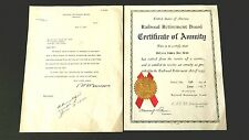 Vintage 1937 Railroad Retirement Board Certificate of Annuity Document & Letter
