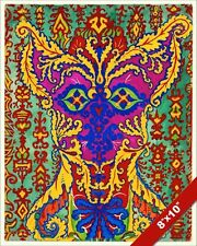 PSYCHEDELIC LOUIS WAIN CAT PURPLE YELLOW GREEN PAINTING ART REAL CANVAS PRINT