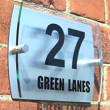 HOUSE DOOR NUMBER PLAQUE WALL SIGN PLATE STREET GATE GLASS ACRYLIC ALUMINIUM
