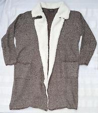 Janina Gr. 46 lange Jacke Mantel braun mit weißem Teddykragen künstlicher Pelz