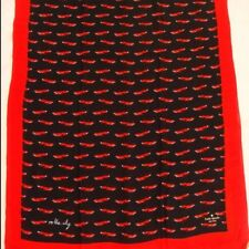 Kate Spade New York On The Sly Fox Oblong Scarf Wrap BLACK RED MULTI NWT Rare
