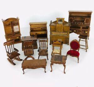 Vintage Mid Century Modern Wood Dollhouse Furniture Lot 14 pc Set