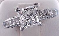 2.65 ct Princess cut Diamond Anniversary Engagement Ring Solid 14k White Gold