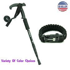 Telescopic Walking Hiking Stick + Survival Paracord Bracelet Fire Starter