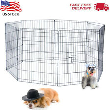 """New listing Pet Dog Metal Exercise Playpen 24""""Wx30""""H Small Door Anchors Easy Set Up Outdoor"""