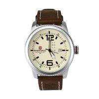 Naviforce Mode Herren Sport Uhr Echtes Leder Datum Analog Quarz Watch Wasserdich