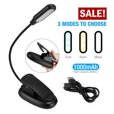 LED Table Reading Book Light Clip-On Desk Lamp Dimmable USB Rechargeable USA