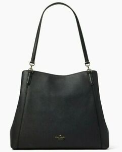 Kate Spade Jackson Black Leather Large Triple Compartment Shoulder WKRU6246 FS