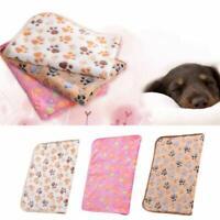 Warm Pet Cat Dog Mat Small Large Paw Print Puppy Fleece Blanket Cushion Bed S3Q5