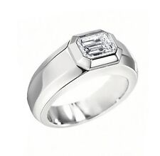 1 Ct. Mens Emerald Cut Diamond Wedding Ring GIA G/VVS2