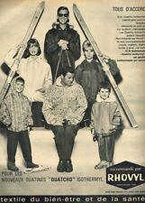 R- Publicité Advertising 1962 Les Vetements sport d'hiver Ski Rhovyl