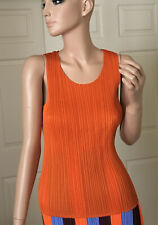 ISSEY MIYAKE Pleats Please Orange Sleeveless Top Tank Shirt JP3, US8 NWT