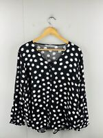 Katies Women's Long Sleeve Lightweight 1/2 Button Blouse Size 14 Black White