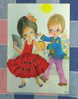 Vintage Postcard Made in Spain Lester Embroidered Material Girl Boy  ? 1960's