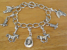 Cowboy/Western/Cowgirl Charm Bracelet Silver-Tone/Boot/Horse/cow boy hat Style