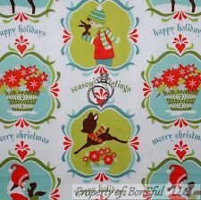 BonEful Fabric FQ Cotton Quilt Kid Xmas VTG Sm Antique Happy Holiday Deer Flower