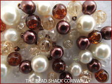 Glass Bead mix / Bracelet Making Kit - Brown & Ivory - Champagne and Chocolates
