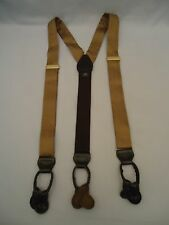 Khaki Tan Woven 100% Silk Mens Suspenders Braces Brown Leather Fittings Long