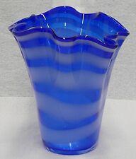 BEAUTIFUL COBALT BLUE HANKERCHIEF RUFFED / FLUTED GLASS VASE