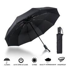 Black 10 Ribs  Compact Folding Umbrella Auto Open Close Waterproof Windproof