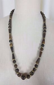 Wood Look Swirled Gold Disc Beads Single Strand BEADED NECKLACE Brown Chestnut