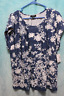 NEW ⚜Woman's Flocked stretch knit Top by Tacera size 2X~white/denim blue floral