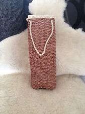 Jute Hessian X 3 Red Chevron Rope Wine Bottle Gift Carry Bag High Quality Eco