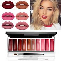 10 Color Waterproof Long Lasting Matte Lip Gloss Palette Lipstick Beauty Makeup