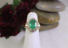 Solid 14K Yellow Gold Large Emerald & Diamond Ring w/ Arthritic Shank sz5.25