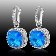 Classic Style Blue Topaz 925 Sterling Silver Gemstone Earrigns