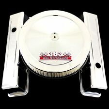 Chrome Tall Valve Covers and 383 Emblem Air Cleaner for SB Chevy Stroker Engines