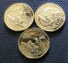 2019 P-D-S 24K GOLD LAYERED WAR IN THE PACIFIC (GUAM) 3 COIN ATB QUARTER SET