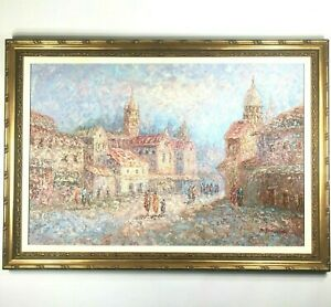 Original Marie Charlot Notre Dame Cathedral Oil On Canvas Signed Painting Rare