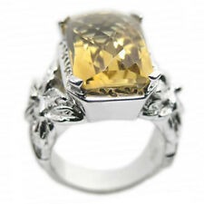 De Buman Sterling Silver 11.47ct Cushion Citrine Ancient Ring, Size 7.25