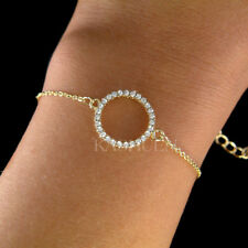 ~Danity Infinity Circle of Love made with Swarovski Crystal Gold Chain Bracelet