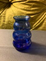 "RARE Vintage Dunbar Flint Glass Favor Vase 3"" Tall Cobalt Blue 1930's"