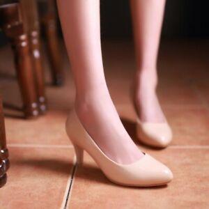 New Womens Stilettos Mid Heel Work Shoes Court Pumps Office Lady Shoes Plus Size