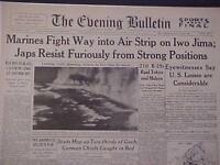 VINTAGE NEWSPAPER HEADLINE ~WORLD WAR 2 MARINES ATTACK JAPAN IWO JIMA WWII 1945