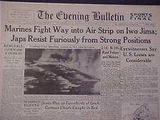 VINTAGE NEWSPAPER HEADLINE ~WORLD WAR MARINES ATTACK JAPANESE IWO JIMA WWII 1945
