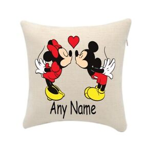 Mickey and Minnie Mouse Cushion Personalise Any Name (cover only) 20cmx20cm
