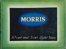 Morris Motors Ltd Light Vans Sales Brochure - August 1938 10 cwt & 5 cwt