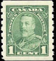 Mint H Canada 1935 VF 1c Scott #228 Pictorial Coil Stamp