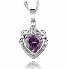 "Sterling Silver Purple Heart Amethyst CZ Pendant Necklace 18"" Chain Christmas"