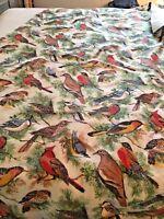 SONG BIRDS Winter Birds Vtg Twin Size Blanket