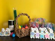 Vtg Crafts LUCO Silver Glitter+Wicker Basket+Plastic Eggs+Hallmark Bunny Garland