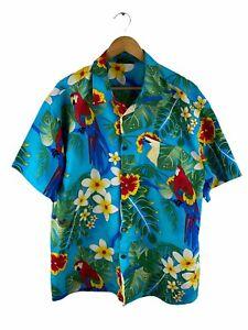 Lowes Mens Button Hawaiian Shirt Mens Size 2XL Blue Short Sleeve Floral Parrots