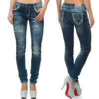 Cipo & Baxx Damen Regular-Fit Jeans Freizeit Hose Casual Style Denim bequem