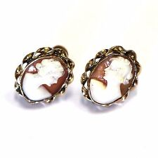 10k yellow gold vintage cameo non-pierced earrings clip on 3.6g antique estate