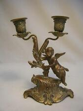 "Antique Victorian Bronze Cherub 2 Lite Candle Holder/Candelabra 7 3/4"" tall"